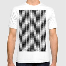 Herringbone Black Inverse SMALL Mens Fitted Tee White