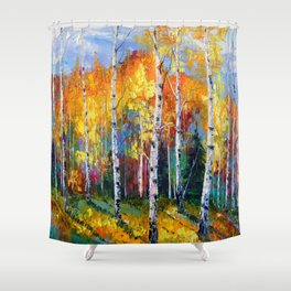 Autumn birches on the edge Shower Curtain