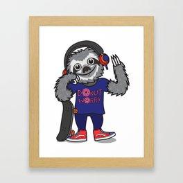 Skater Sloth Framed Art Print