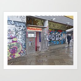 Old photo booth in Berlin Art Print