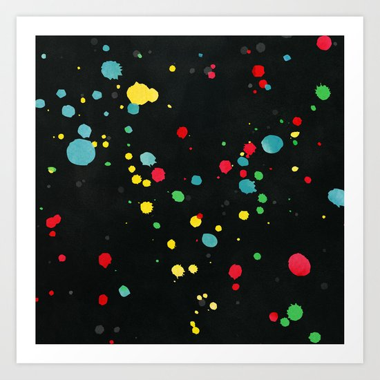 Watercolor splatters on black Art Print