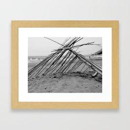 hut on the beach Framed Art Print