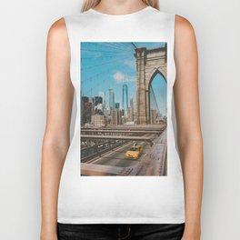 The Bridge in New York City (Color) Biker Tank