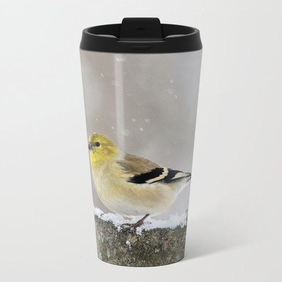 Winter Goldfinch Metal Travel Mug