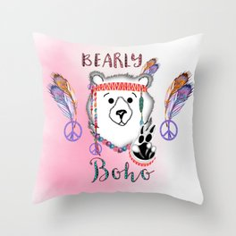 Bearly Boho Polar Bear Hippie Throw Pillow