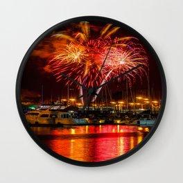 Marina Del Rey Fourth of July Fireworks 1 Wall Clock