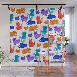 Fluffy Watercolor Cat Pattern Wall Mural