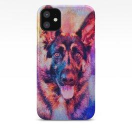 Jazzy German Shepherd Colorful Dog Art by Jai Johnson iPhone Case