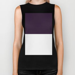 White and Dark Purple Horizontal Halves Biker Tank