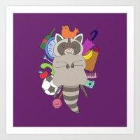 Happy Racoon Art Print
