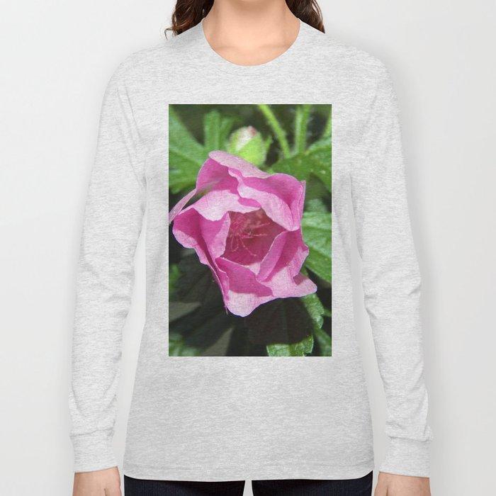 Musk Mallow - Pretty Pink Flower Long Sleeve T-shirt