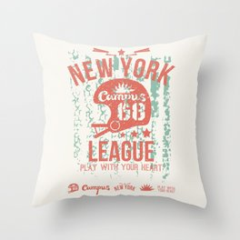 The emblem of the rugby team from New York in retro style Throw Pillow
