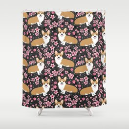 Corgi cherry blossom florals dog must have cute welsh corgis gifts pure breed Shower Curtain