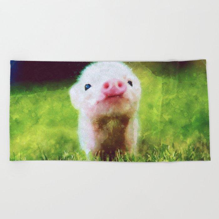 Cute Little Baby Pig Piglet Beach Towel