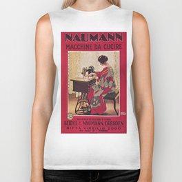 Vintage poster - Naumann Sewing Machine Biker Tank