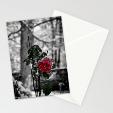 Rose in the snow Stationery Cards