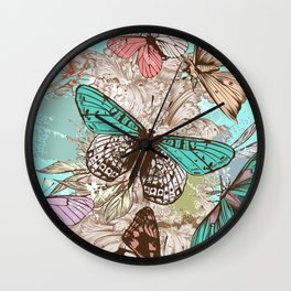 Beautiful print with hand drawn butterflies in vintage style Wall Clock