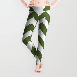 Dark olive green - green color - Zigzag Chevron Pattern Leggings