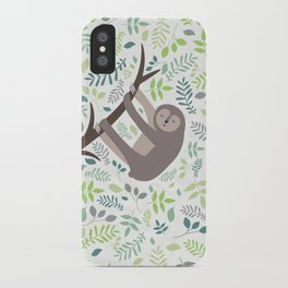 Happy Sloth with Leaves Illsutration iPhone Case