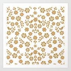 Golden floral symmetric birds heart Art Print