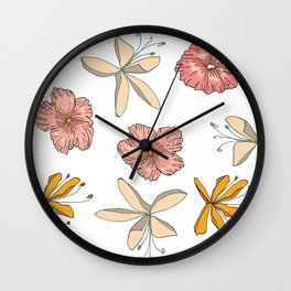 Palm Flowers Wall Clock