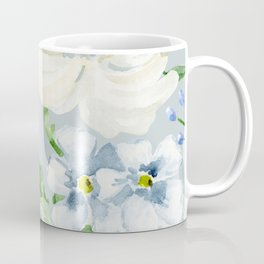 White and Blue Flowers Coffee Mug