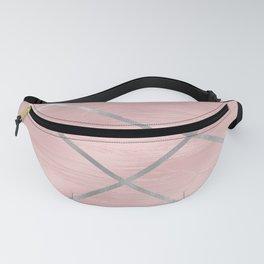 Modern Pink & Silver Line Art Fanny Pack