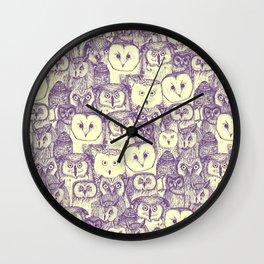 just owls purple cream Wall Clock