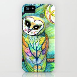 Celtic Owl Original Illustration from the Spirit Owl Series by Artist Sheridon Rayment . iPhone Case