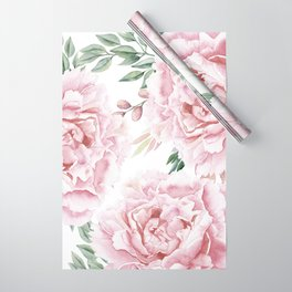 Girly Pastel Pink Roses Garden Wrapping Paper