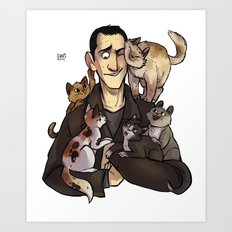 9 and cats Art Print