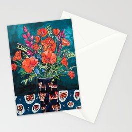 California Poppy and Wildflower Bouquet on Emerald with Tigers Still Life Painting Stationery Cards