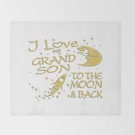 I Love My GrandSon to the Moon and Back Throw Blanket