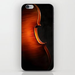 Silhouette of cello, musical painting iPhone Skin