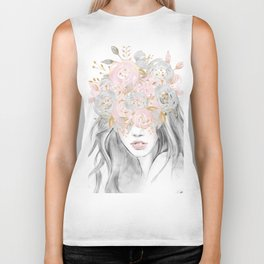 She Wore Flowers in Her Hair Rose Gold by Nature Magick Biker Tank