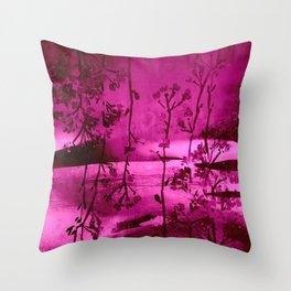 fuchsia landscape Throw Pillow