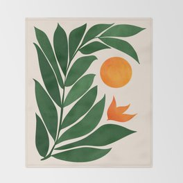 Tropical Forest Sunset / Mid Century Abstract Shapes Throw Blanket