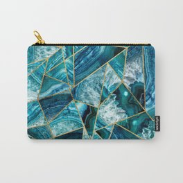 Turquoise Navy Blue Agate Black Gold Geometric Triangles Carry-All Pouch