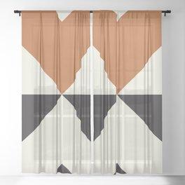 Split X Rust Sheer Curtain