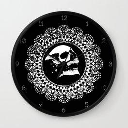 Doily Skull Clock Wall Clock