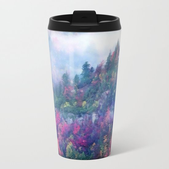 Fog over a colorful fall mountain forest Metal Travel Mug