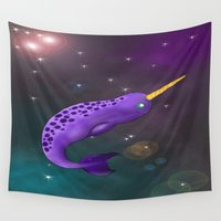 narwhal Wall Tapestries featuring Narwhal in Space by Tiffany Saffle