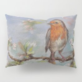Red Robin Small bird on a blooming twig Wildlife spring scene Pastel drawing Pillow Sham