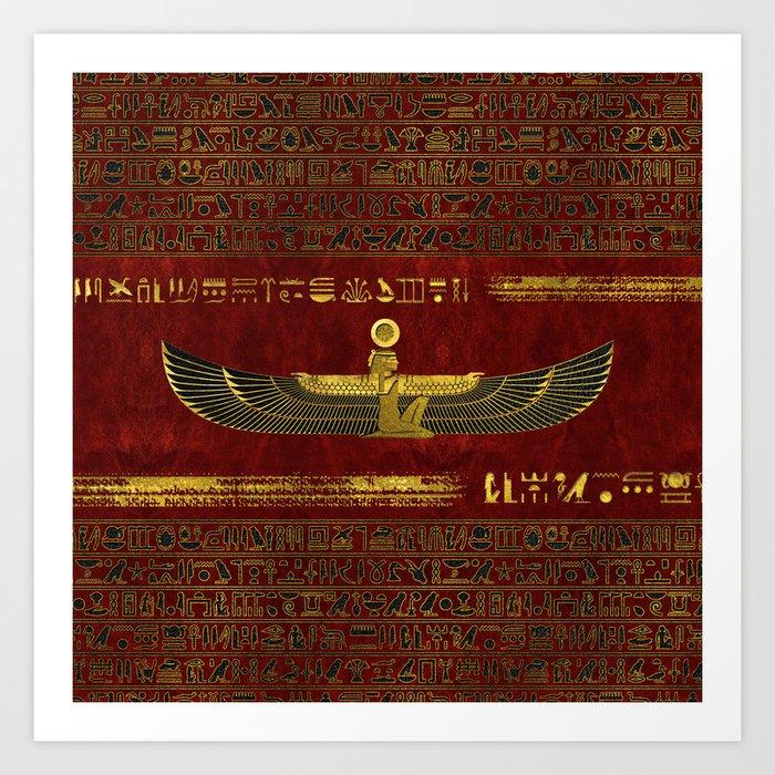 Golden Egyptian God Ornament on red leather Kunstdrucke