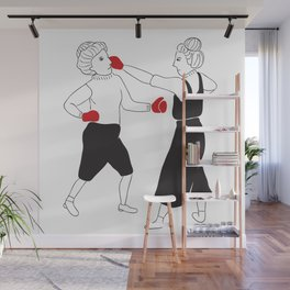 Women boxing Wall Mural
