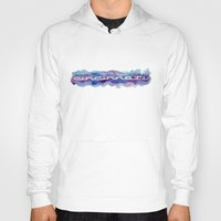 cincinnati Hoodies featuring Cincinnati Watercolor Banner Print by Robin Ewers