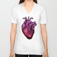 anatomical heart V-neck T-shirts featuring Anatomical Heart by Hungry Designs