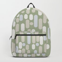 Morningside Heights Midcentury Modern Abstract Pattern in Sage Green, Almond Beige, Cream, and Light Silver Gray Backpack