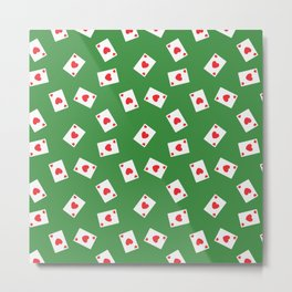 Playing cards hearts suit on green Metal Print
