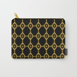 Gold Tone and Black Diamond Shapes Grid Carry-All Pouch